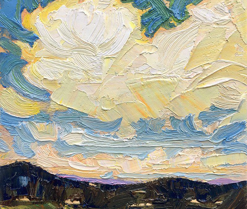 Dark Hills: 6×6 oil on panel