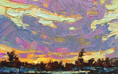 Sunset Colours: 6×8 oil on panel