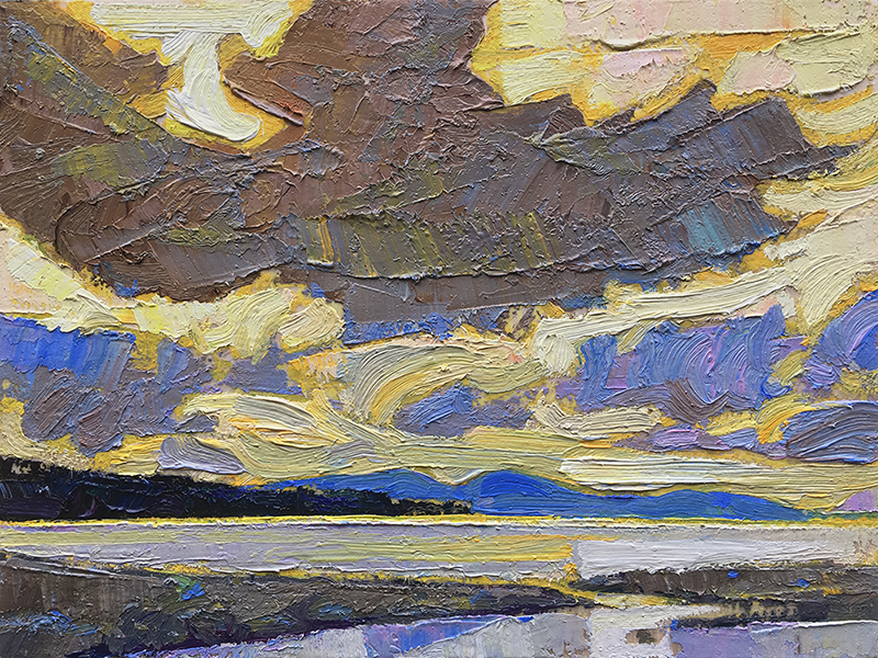 Beach Side: 6×8 oil on panel