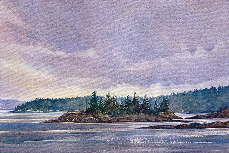 Island Seascape: 6×9 watercolour on paper