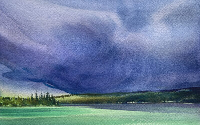 Moody Lake: 6×9 watercolour on paper