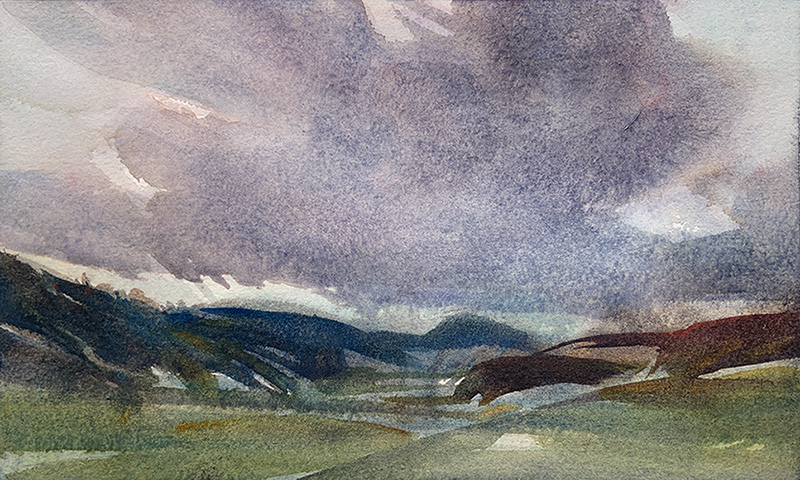 Shifting Sky: 6×10 watercolour on paper