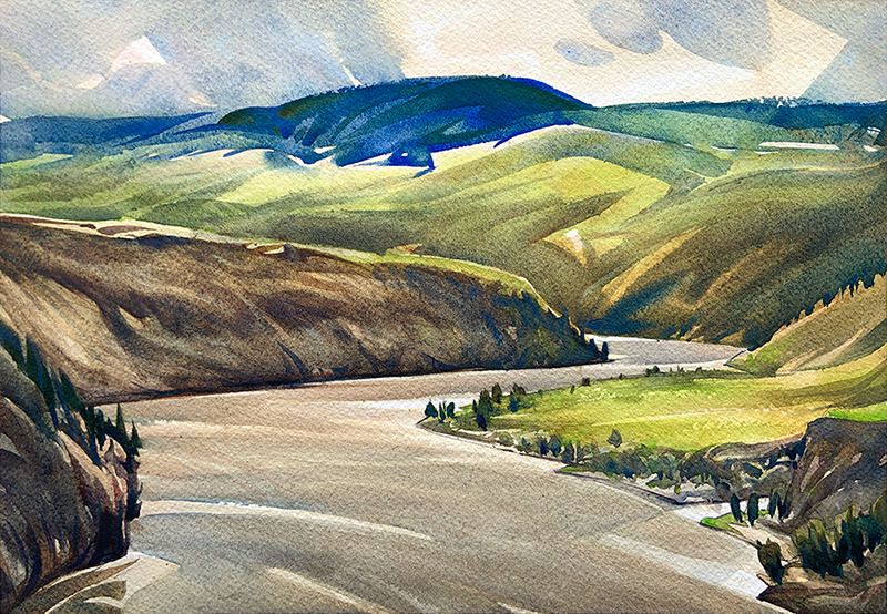 Above Churn Creek: 9×13 watercolour on paper