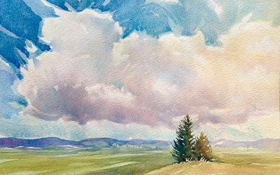 Valley Fields: 6×9 watercolour on paper