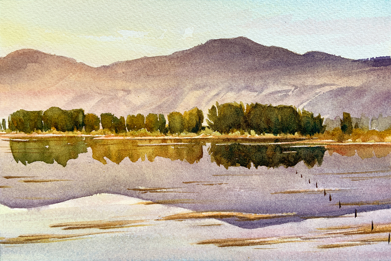 Morning Pond: 6×9 watercolour on paper