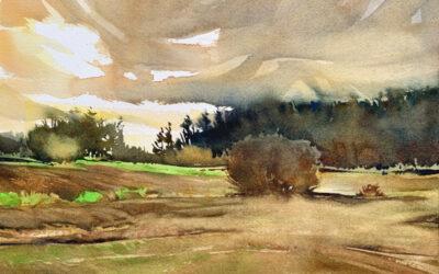January Fields:  9×13  watercolour on paper