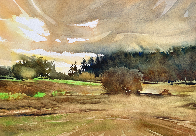 January Fields:  9×13  watercolour on paper