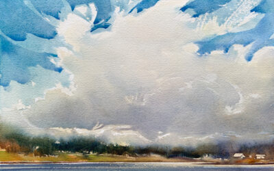 Sky Over High Oaks Farm:  9×13  watercolour on paper
