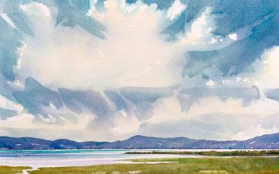 Sunny Sea View: 9×13 watercolour on paper