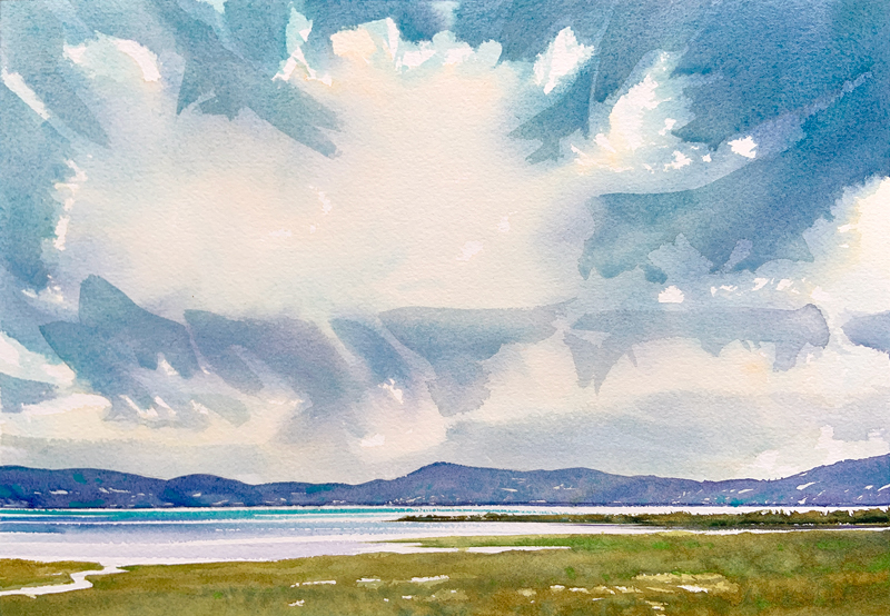 Sunny Sea View: 9×13 watercolour on paper