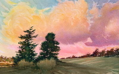 Evening Trees: 9X13 watercolour on paper